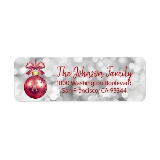 Lights Red Ornament Christmas Return Address
