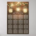 Lights + Rustic Mason Jar Wedding Seating Chart