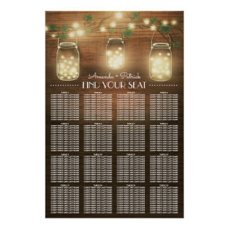 Lights + Rustic Mason Jar Wedding Seating Chart Poster