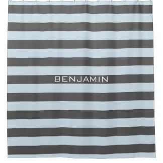 Lightt Blue/Gray Rugby Stripes with Custom Name Shower Curtain