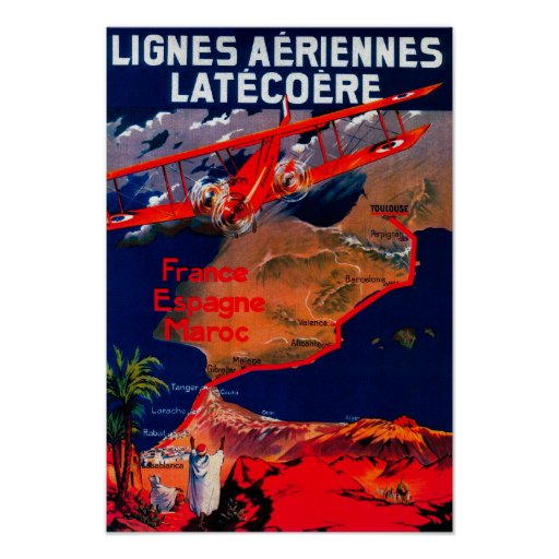 Lignes Aeriennes Latecoere Vintage Poster