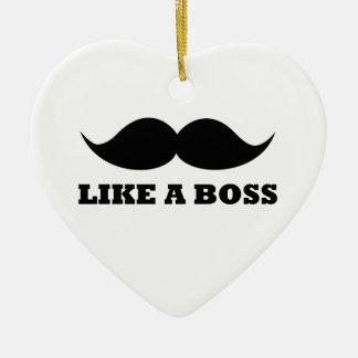 LIKE A BOSS, moustache design Ceramic Heart Decoration