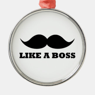 LIKE A BOSS, moustache design Silver-Colored Round Decoration
