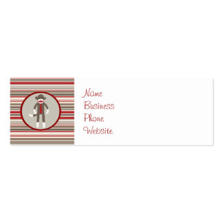 Like a Boss Sock Monkey with Tie on Red Stripes Business Card Templates