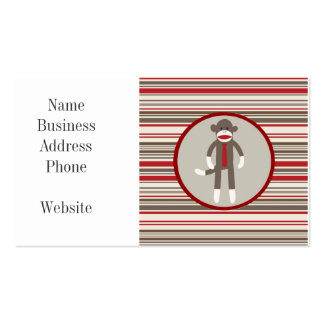 Like a Boss Sock Monkey with Tie on Red Stripes Business Cards