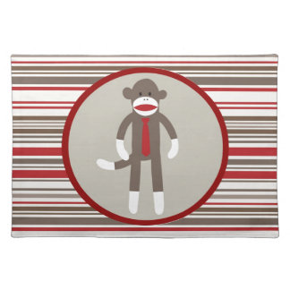 Like a Boss Sock Monkey with Tie on Red Stripes Placemat