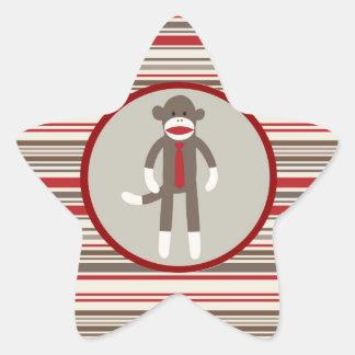 Like a Boss Sock Monkey with Tie on Red Stripes Star Sticker