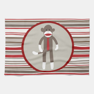Like a Boss Sock Monkey with Tie on Red Stripes Towel