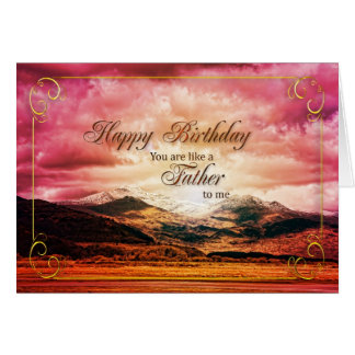 Like a father to me birthday Sunset and mountains Greeting Card