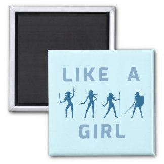 Like a Girl Blue Magnet 2 Inch Square Magnet
