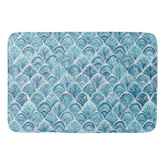 LIKE A MERMAID Nautical Fish Scales Pattern Bath Mat