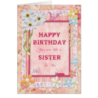 Like a sister to me, craft birthday card