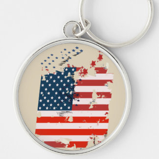 Like an American. USA grunge flag Silver-Colored Round Key Ring