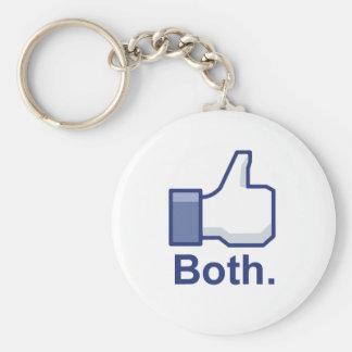 Like Both Basic Round Button Key Ring