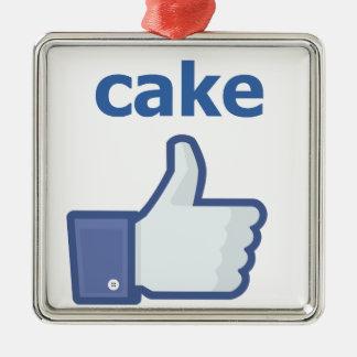 LIKE cake Silver-Colored Square Decoration