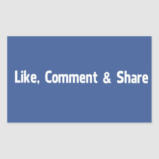 Like,Comment & Share Rectangular Sticker