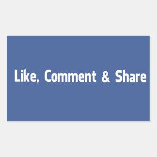 Like,Comment & Share Rectangular Sticker