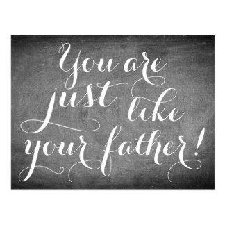 Like Father Handwriting Typography Black White Postcard