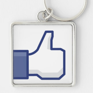 Like Hand - FB Thumbs Up Silver-Colored Square Key Ring