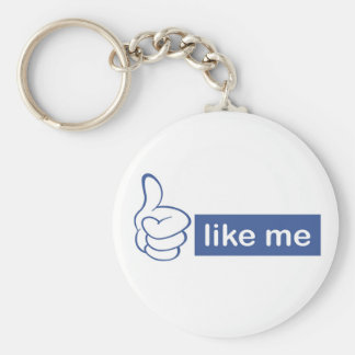 like me - thumbs up basic round button key ring