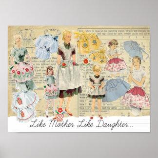 Like Mother Like Daughter Vintage Aprons Poster