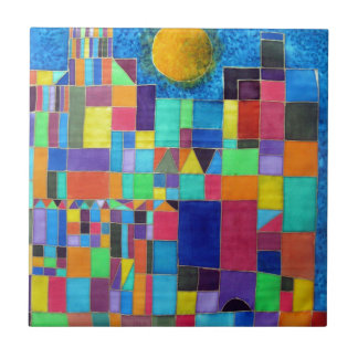 Like Paul Klee Small Square Tile
