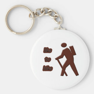 like to hike basic round button key ring