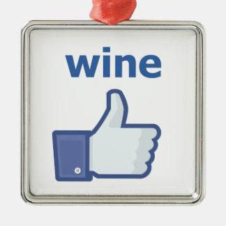 LIKE wine Silver-Colored Square Decoration
