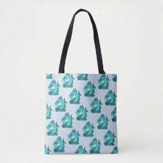 likely piranha ugly fish funny cartoon tote bag