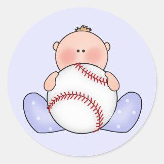 Lil Baseball Baby Boy Classic Round Sticker