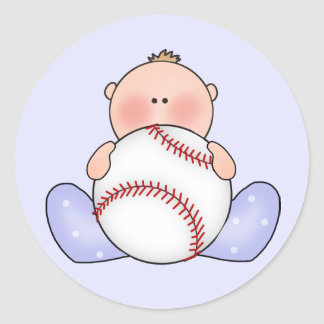 Lil Baseball Baby Boy Round Sticker