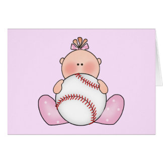 Lil Baseball Baby Girl Card