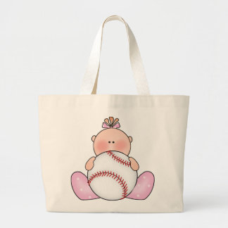 Lil Baseball Baby Girl Large Tote Bag