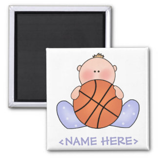 Lil Basketball Baby Boy Square Magnet