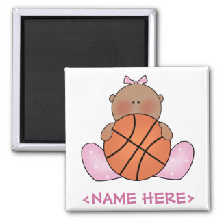 Lil Basketball Baby Girl - Ethnic Square Magnet
