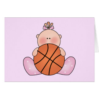 Lil Basketball Baby Girl Note Card