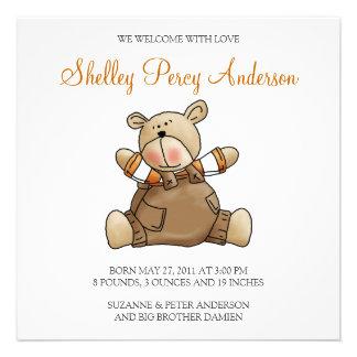 Lil Bears · Baby Boy Brown Romper Custom Invitations