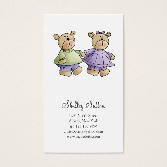 Lil' Bears · Baby Twins Green & Purple Business Card