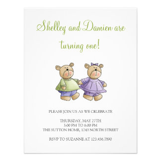 Lil' Bears · Baby Twins Green & Purple Custom Invitation