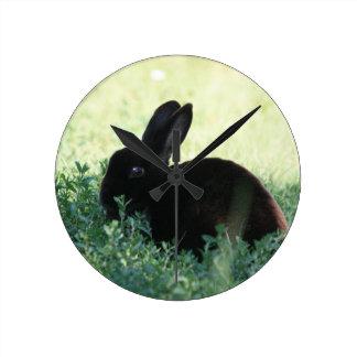 Lil Black Bunny Round Clock