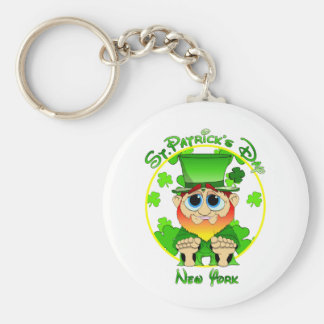 LIl Blarney in NY for St Patty's Day Basic Round Button Key Ring