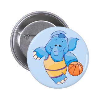 Lil Blue Elephant Basketball 6 Cm Round Badge
