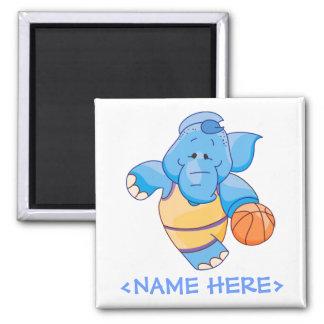 Lil Blue Elephant Basketball Square Magnet
