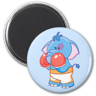 Lil Blue Elephant Boxing 6 Cm Round Magnet