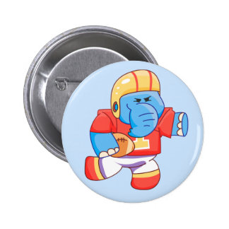 Lil Blue Elephant Football 6 Cm Round Badge