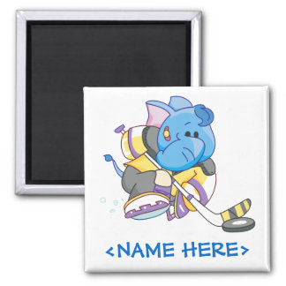 Lil Blue Elephant Hockey Square Magnet