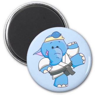 Lil Blue Elephant Karate 6 Cm Round Magnet