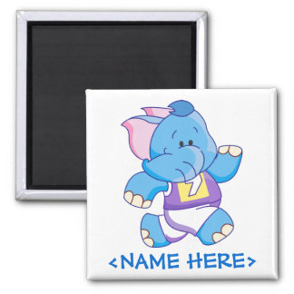 Lil Blue Elephant Running Square Magnet