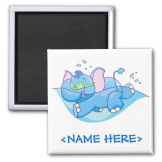 Lil Blue Elephant Swimming Fridge Magnets