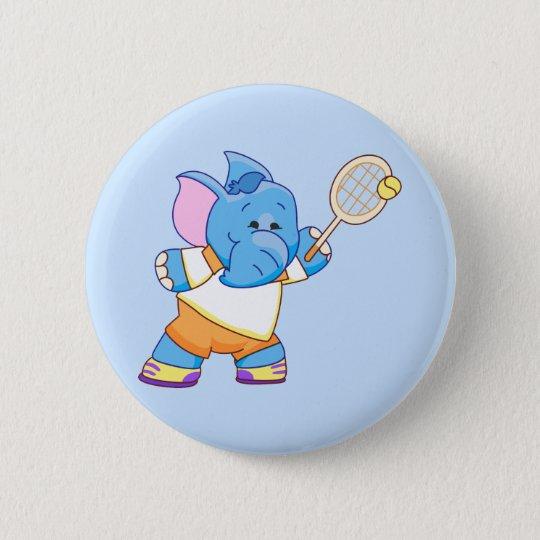 Lil Blue Elephant Tennis 6 Cm Round Badge